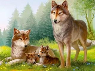 Собирать пазл Семья волков онлайн
