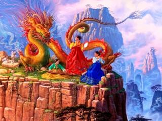 Собирать пазл Серенада дракона онлайн