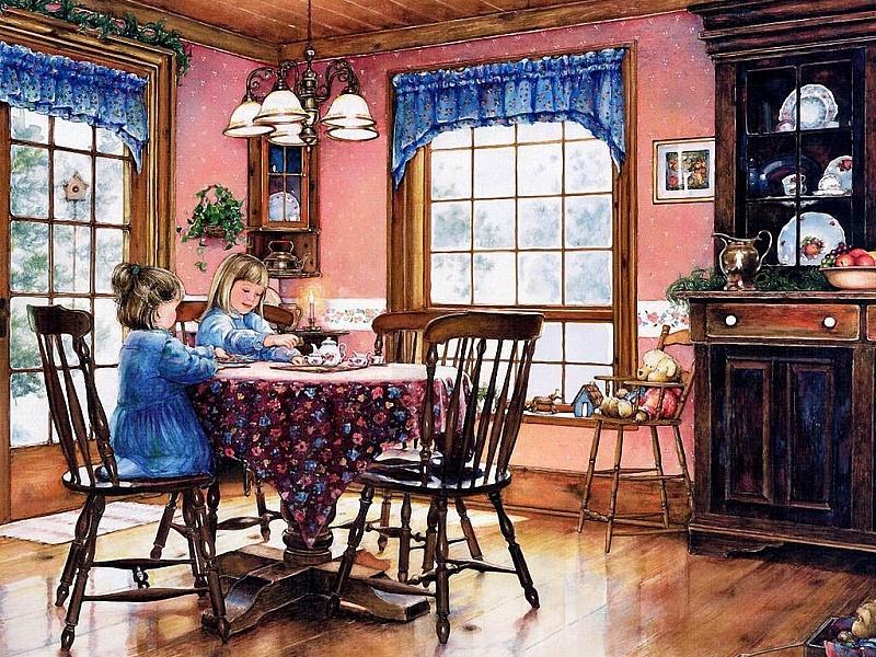 Пазл Собирать пазлы онлайн - Сестрички за столом