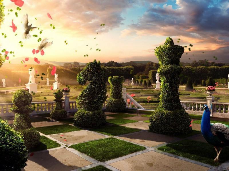 Пазл Собирать пазлы онлайн - Шахматный сад