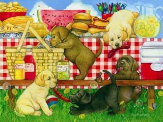 Собирать пазл Щенки на пикнике онлайн