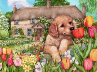 Собирать пазл Щенок и тюльпаны онлайн