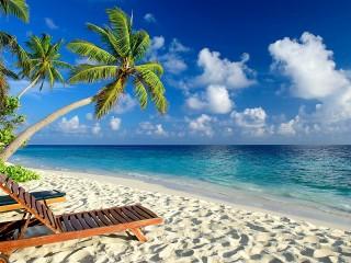 Собирать пазл Шезлонги на пляже онлайн