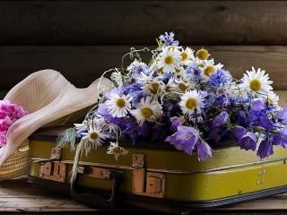 Собирать пазл Шляпа и цветы онлайн