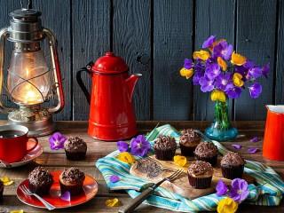 Собирать пазл Шоколадные капкейки онлайн