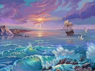 Собирать пазл Штормовое море  онлайн