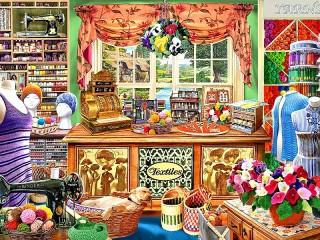 Собирать пазл Швейный магазин онлайн