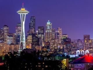 Собирать пазл Ночной Сиэтл онлайн