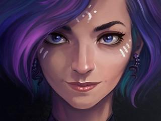 Собирать пазл Синеглазый портрет онлайн