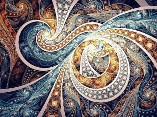 Собирать пазл Синий и золотистый онлайн
