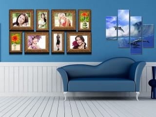Собирать пазл Синий интерьер онлайн