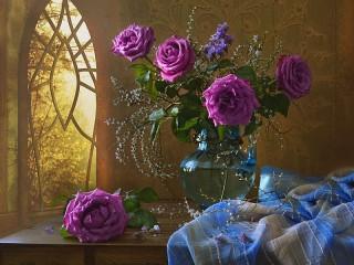 Собирать пазл Сиреневые розы онлайн