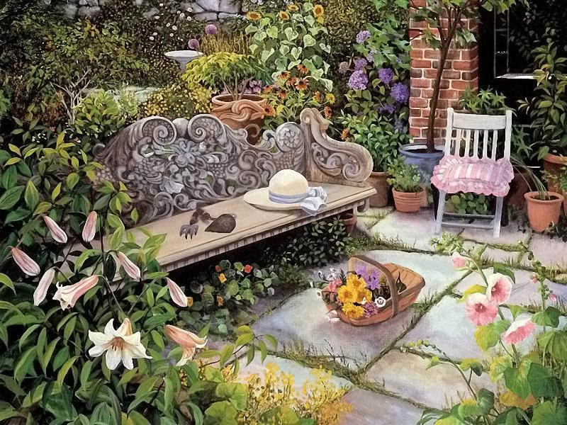Пазл Собирать пазлы онлайн - Скамейка в саду