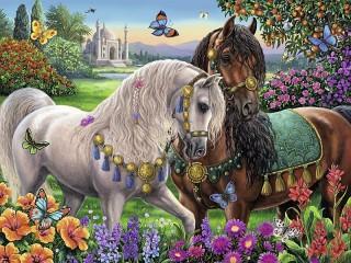 Собирать пазл Сказочные лошади онлайн