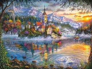 Собирать пазл Сказочное озеро онлайн