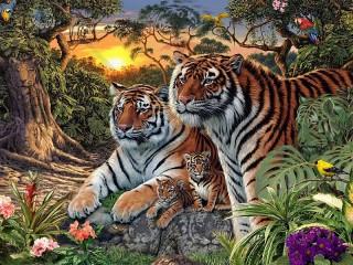 Собирать пазл Сколько тигров онлайн