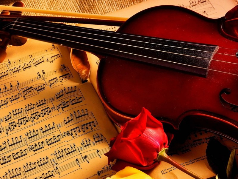 Пазл Собирать пазлы онлайн - Скрипка и роза