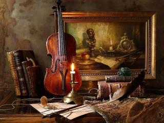 Собирать пазл Скрипка и свеча онлайн