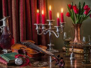 Собирать пазл Скрипка и свечи онлайн