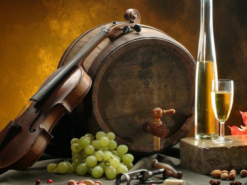Пазл Собирать пазлы онлайн - Скрипка и виноград