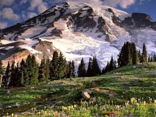 Собирать пазл Снег в горах онлайн