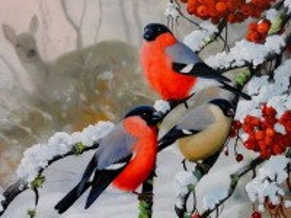 Собирать пазл Снегири онлайн