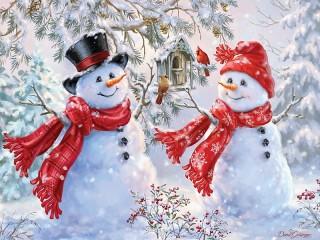 Собирать пазл Снеговички онлайн