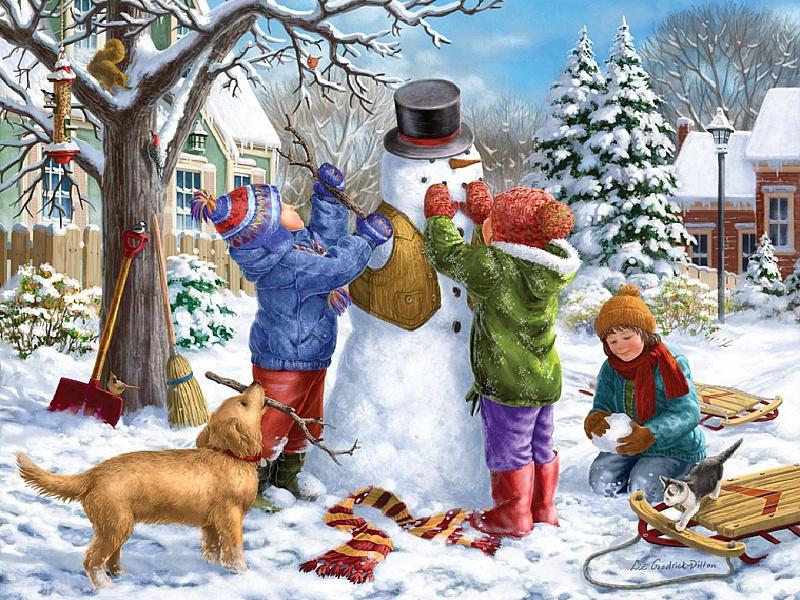Пазл Собирать пазлы онлайн - Снеговик