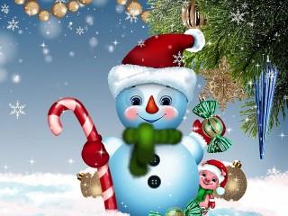 Собирать пазл Снеговик и поросёнок онлайн