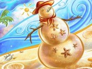 Собирать пазл Снеговик из песка онлайн
