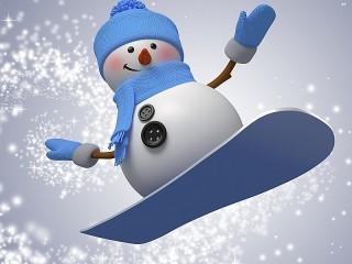 Собирать пазл Снеговик-сноубордист онлайн