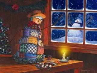 Собирать пазл Снеговики онлайн
