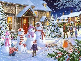 Собирать пазл Снежная семейка онлайн