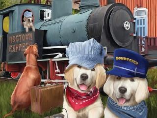 Собирать пазл Собачий поезд онлайн