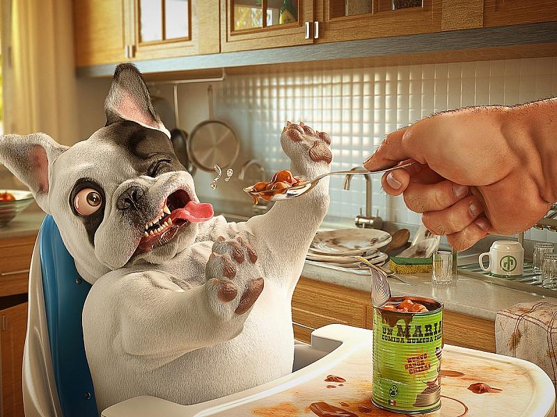 Пазл Собирать пазлы онлайн - Собачка кушает