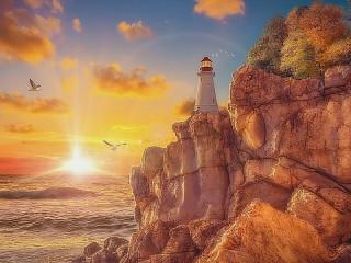 Собирать пазл Солнце и маяк онлайн