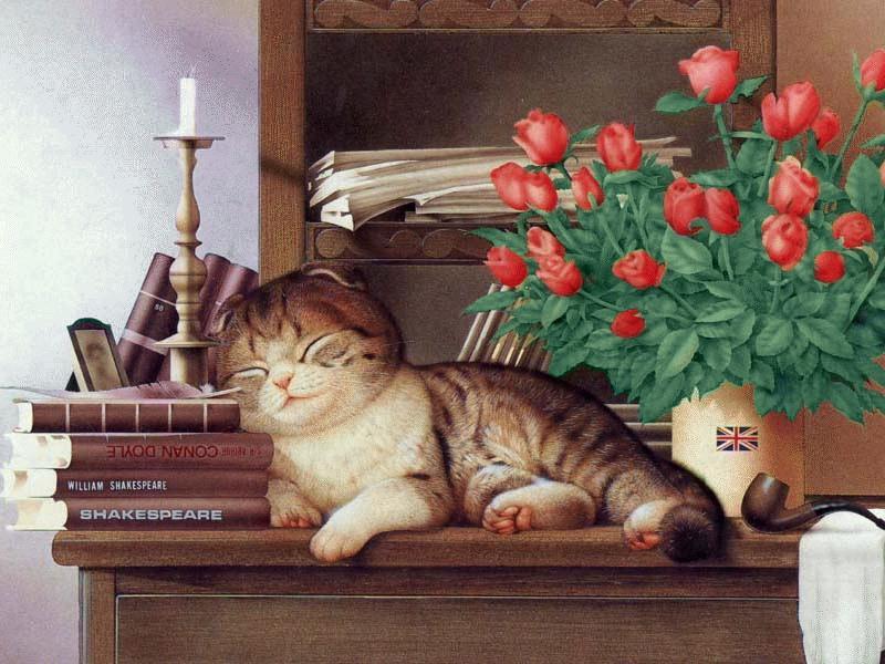 Пазл Собирать пазлы онлайн - Котёнок и розы