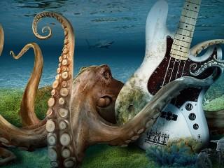 Собирать пазл Спрут с гитарой онлайн