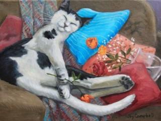 Собирать пазл Спящий кот онлайн