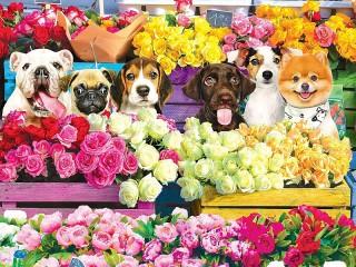 Собирать пазл Среди цветов онлайн