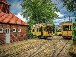 Собирать пазл Старые трамваи онлайн