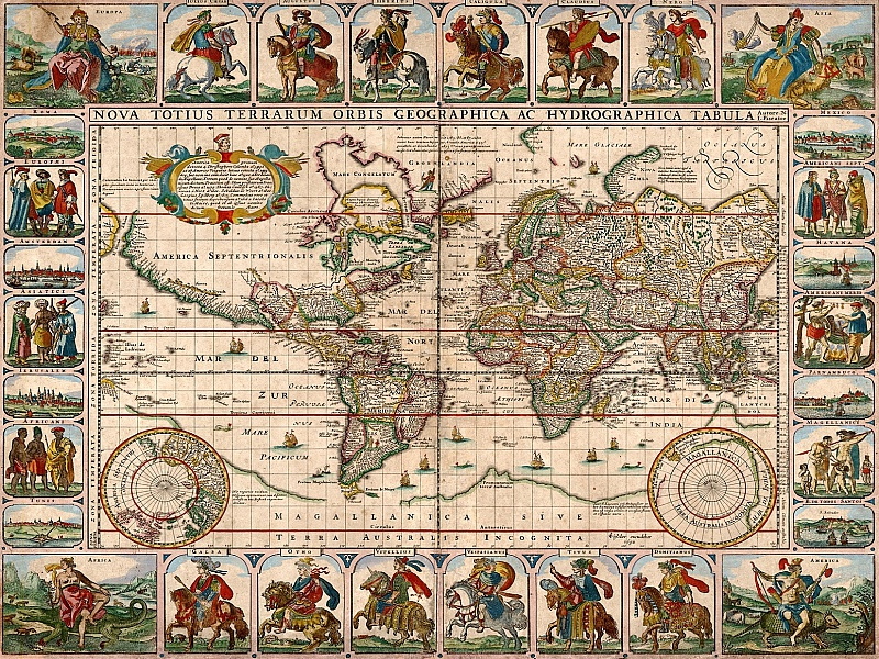 Пазл Собирать пазлы онлайн - Старинная карта мира
