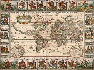 Собирать пазл Старинная карта мира онлайн