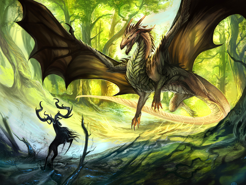 Пазл Собирать пазлы онлайн - Страж леса - дракон