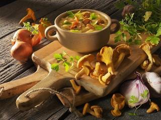 Собирать пазл Суп из лисичек онлайн