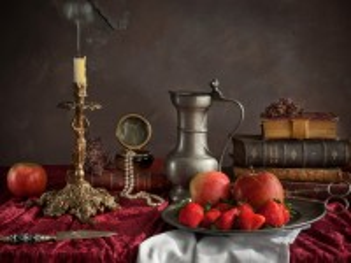 Собирать пазл Свеча и плоды онлайн