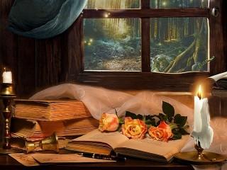 Собирать пазл Свечи и розы онлайн
