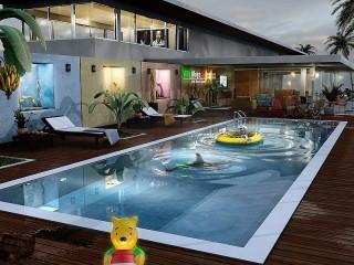 Собирать пазл Терраса с бассейном онлайн