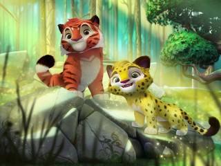 Собирать пазл Тигр и леопард онлайн