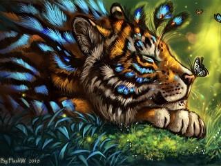 Собирать пазл Тигр и мотылёк онлайн